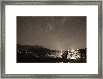 Colorado Chapel On The Rock Dreamy Night Sepia Sky Framed Print