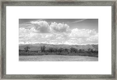 Colorado Front Range Rocky Mountains Panorama Bw Framed Print