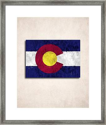 Colorado Map Art With Flag Design Framed Print by World Art Prints And Designs