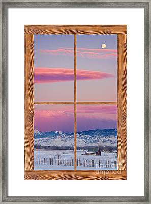 Colorado Moon Sunrise Barn Wood Picture Window View Framed Print by James BO  Insogna