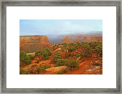Colorado Natl Monument Snow Coming Down The Canyon Framed Print