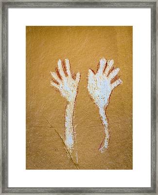 Colorado Pictograph Of Hands In Canyon Framed Print