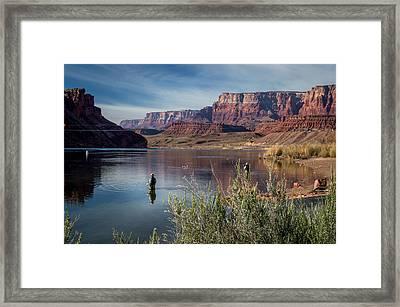 Colorado River Fisherman Framed Print by Michael J Bauer