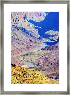 Colorado River Winding Through The Grand Canyon Framed Print by Shawn O'Brien