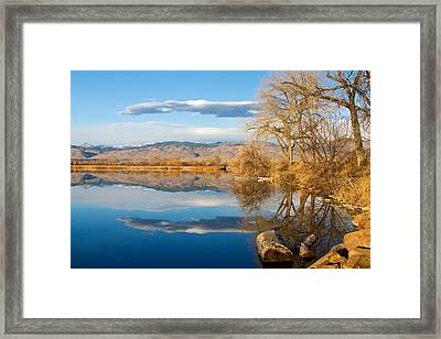 Colorado Rocky Mountain Lake Reflection View Framed Print