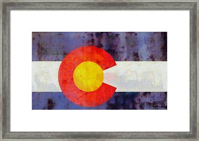 Colorado State Flag Weathered And Worn Framed Print by Dan Sproul