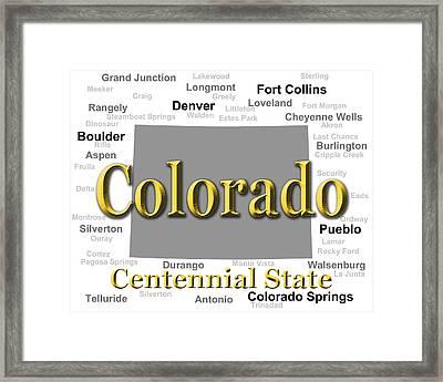 Colorado State Pride Map Silhouette  Framed Print