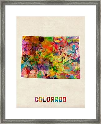 Colorado Watercolor Map Framed Print by Michael Tompsett