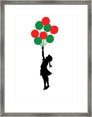 Colored Balloons Girl Framed Print