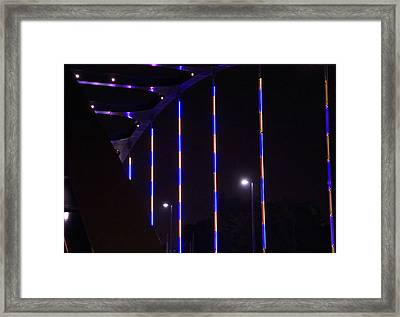 Colored Bridge At Night Framed Print by Dan Sproul