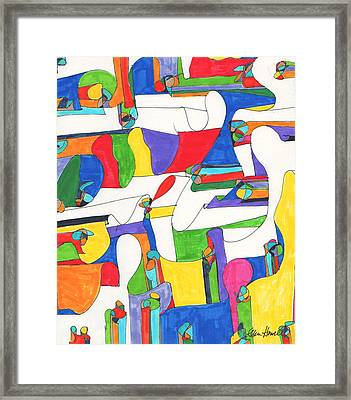 Colored Columns Framed Print by Ellen Howell