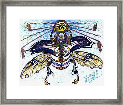 Colored Cultural Zoo B Sacred Scarab Framed Print
