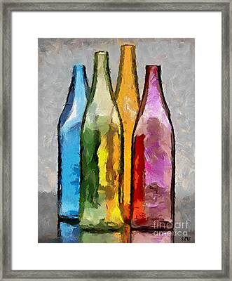 Colored Glass Bottles Framed Print