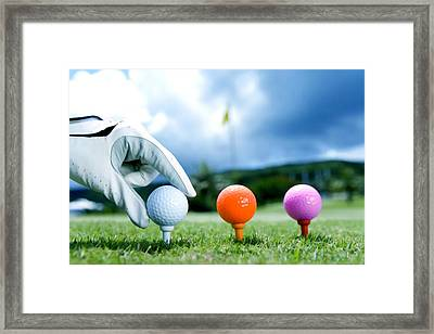 Colored Golf Balls Are In The Range Framed Print by Lanjee Chee