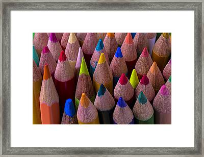 Colored Pencils Close Up Framed Print by Garry Gay