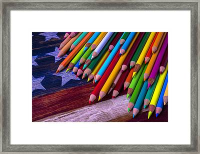 Colored Pencils On Wooden Flag Framed Print by Garry Gay