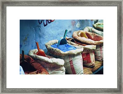 Colored Powders For Textile Dyes On Framed Print by Valeria Schettino