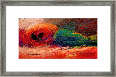Colored Waves - Furious Red Abstract Print  Framed Print by Kanayo Ede