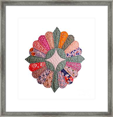 Colorful 1920s Quilt Block Isolated Framed Print by Susan Montgomery