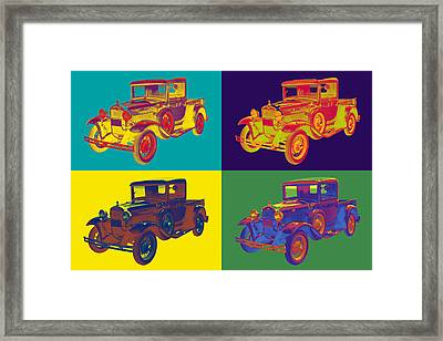 Colorful 1930 Model A Ford Pickup Truck Pop Art Framed Print by Keith Webber Jr