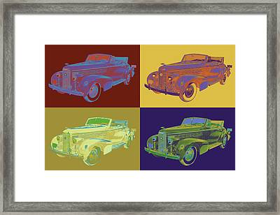 Colorful 1938 Cadillac Lasalle Pop Art Framed Print by Keith Webber Jr