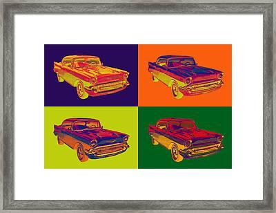 Colorful 1957 Chevy Bel Air Car Pop Art  Framed Print by Keith Webber Jr
