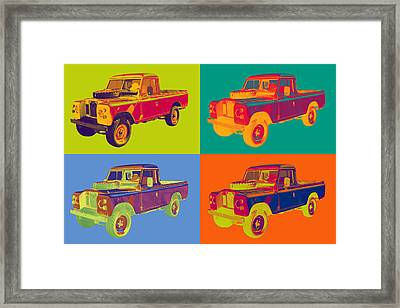Colorful 1971 Land Rover Pick Up Truck Pop Art Framed Print