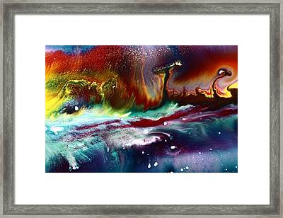 Colorful Abstract Art Vivid Colors Rainbow Landscape By Kredart  Framed Print