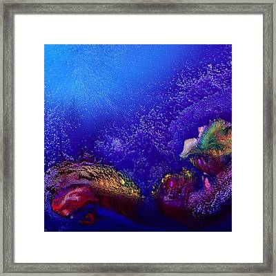 Colorful Abstract Art-vivid Fluid Painting Life Below By Kredart Framed Print