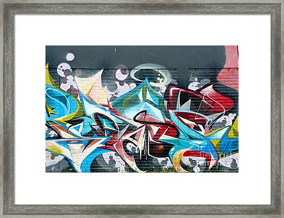 Colorful Abstract Graffiti Art On The Brick Wall Framed Print