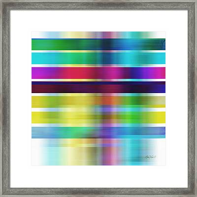 Colorful Abstract Stripes On Square By Ann Powell Framed Print by Ann Powell