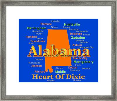 Colorful Alabama State Pride Map Silhouette  Framed Print by Keith Webber Jr