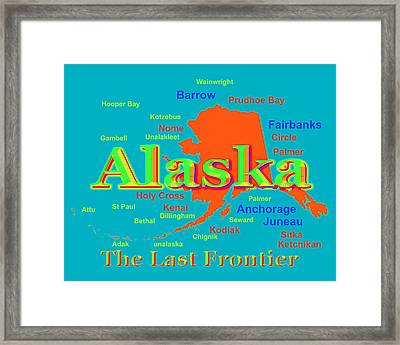 Colorful Alaska State Pride Map Silhouette  Framed Print by Keith Webber Jr