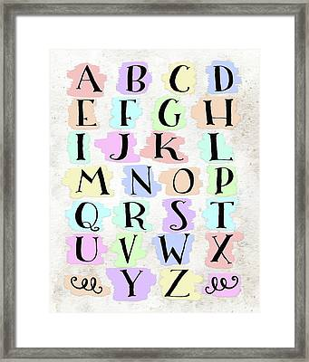 Colorful Alphabet Framed Print by Tara Moss