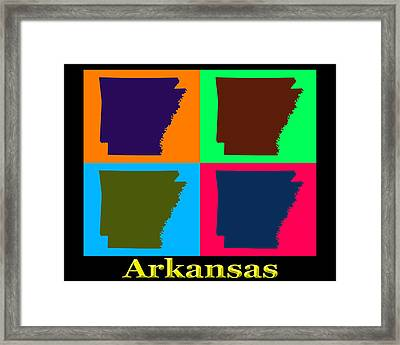 Colorful Arkansas State Pop Art Map Framed Print by Keith Webber Jr