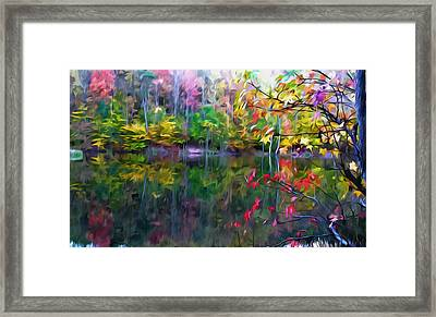 Colorful Autumn Leaves Reflecting In The Water Framed Print by Lanjee Chee