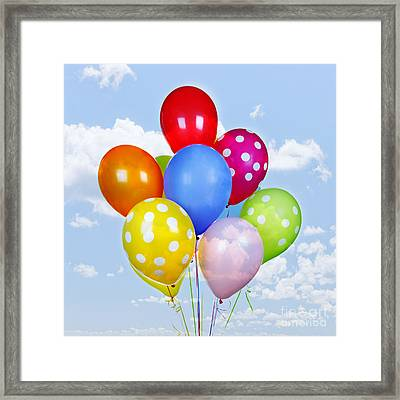 Colorful Balloons With Blue Sky Framed Print by Elena Elisseeva