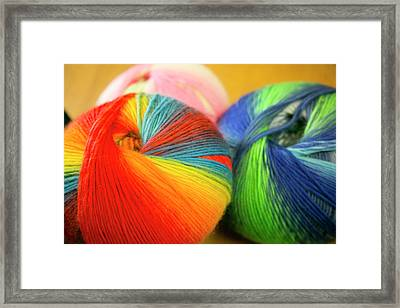 Colorful Balls Of Yarn, Taos, New Framed Print by Julien Mcroberts