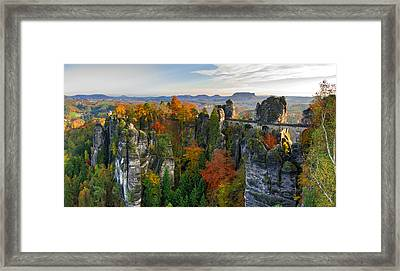 Colorful Bastei Bridge In The Saxon Switzerland Framed Print