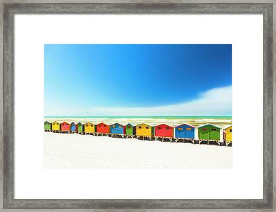 Colorful Beach Houses In Muizenberg Framed Print by Spooh