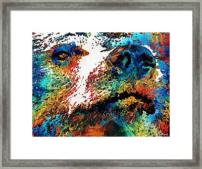 Colorful Bear Art - Bear Stare - By Sharon Cummings Framed Print
