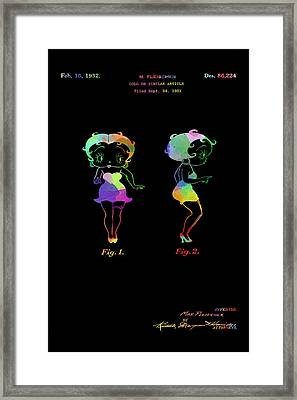 Colorful Betty Boop Patent On Black Framed Print by Eti Reid