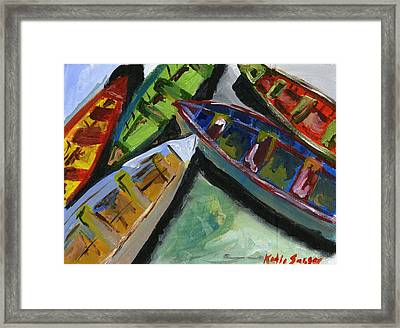 Colorful Boats Framed Print