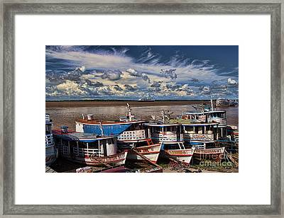 Colorful Boats On The Amazon River Framed Print by David Smith