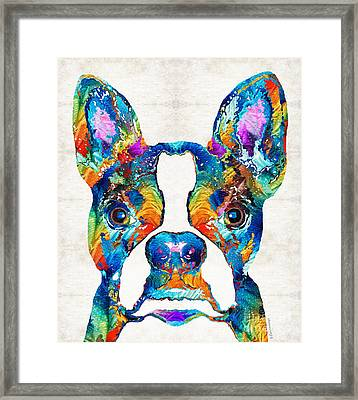 Colorful Boston Terrier Dog Pop Art - Sharon Cummings Framed Print by Sharon Cummings