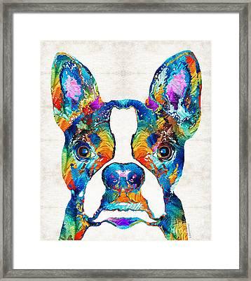 Colorful Boston Terrier Dog Pop Art - Sharon Cummings Framed Print