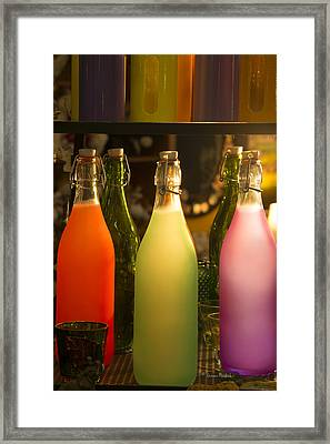 Colorful Bottles Closeup Framed Print