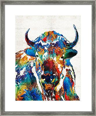 Colorful Buffalo Art - Sacred - By Sharon Cummings Framed Print