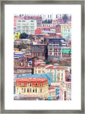 Colorful Buildings On A Hill Framed Print