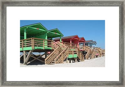 Colorful Cabanas Framed Print